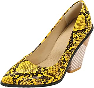 TAOFFEN Women Fashion Western Pumps Shoes Chunky Heels