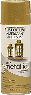 Rust-Oleum 202719 American Accents Topcoat Designer Metallic Spray Paint, 12 Oz Aerosol Can, Aged, 11 oz, Brass