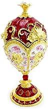 Bciou Rood Goud Faberge-Egg Handgeschilderde Sieraden Trinket Box Gift voor Pasen Home Decor