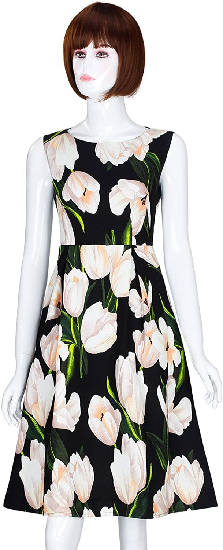 ADAMARIS Women'S Fall Floral Printed Crew Veck Sleeveless ALine Dress