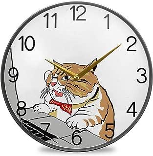 Chovy 掛け時計 サイレント 連続秒針 壁掛け時計 インテリア 置き時計 北欧 おしゃれ かわいい ネコ 猫 猫柄 かわいい 可愛い おもしろ 部屋装飾 子供部屋 プレゼント