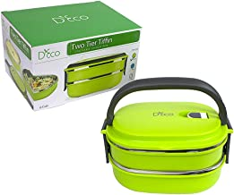 Stacking Lunch Box - Two Tier Tiffin with Vacuum Seal Lid and Stainless Steel Interior (Lime Green)