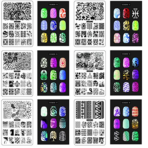 CICI et SISI Nail Art Stamp Collection Set 3 Jumbo Set de 6 JUMBO Nail Polish Stamping Manucure image Plaques Kit d'accessoires Toutes les nouvelles conceptions avec GRATUIT Stamper & SCRAPER outils mis OFFRE PROMOTIONNELLE