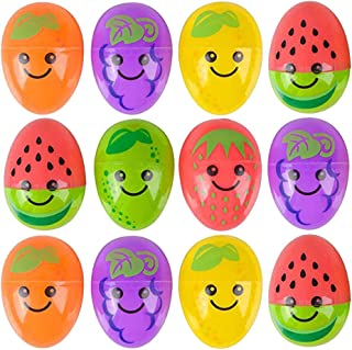 Kicko Fruit Eggs - Pack of 12-2.5 Inch Plastic Fruit Print Eggs for Easter Basket Fillers, Treasure Chest Stuffers, Novelty Toy, Party Supplies
