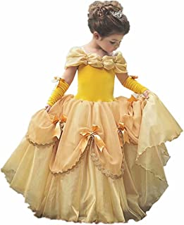 Girls Princess Belle Costume Dress Up Yellow Gowns with Gloves for Holloween Christmas Party