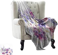 Ultra Soft Flannel Blanket Lavender,Pastel Cornflowers Bridal Classic Design Gentle Floral Wedding Design Print,Violet Pink White Microfiber All Season Blanket for Bed or Couch Multicolor 50