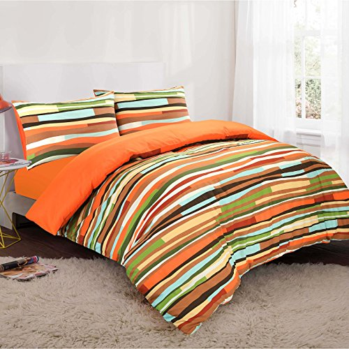 Nimsay Home Waves Multicoloured Striped Duvet Cover and Pillowcases Set (Double, Orange)