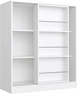 Homfa Bibliothèque à 3 Etagères Meuble de Rangement Etagère de Livres avec Porte Coulissante en Bois 90×37×105cm Blanc