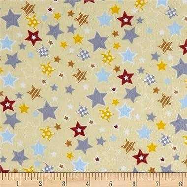 Mook Fabrics Fox/Sheep/Bear Flannel Star Fabric, Yellow, Fabric By The Yard