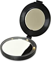 Floxite Compact & Mini Vanity Mirror - Magnifies 10x with LED lights and stand