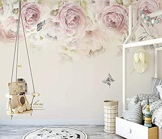 Wallpaper 3D Mural Abstract Rose Flower Butterfly Wall Mural Wallpaper Home Decor Wallpaper for Home Living Room Bedroom Indoor and TV Background 250cmX175cm