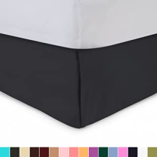 Shop Bedding Harmony Lane Tailored Bedskirt - 21 inch Drop, Twin, Black Bed Skirt with Split Corners (Available in and 16 Colors)