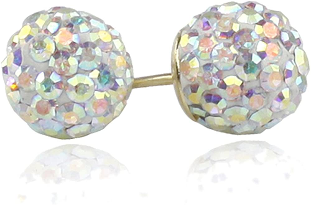 14K Yellow Gold Multi White Crystal Ball Stud Earrings Screwback (Available 6mm, 8mm)