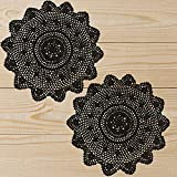 Qxzvzem 2 Pieces 15 Inch Doilies Crochet for Dressers and End Tables Crafts Disposable Medium Halloween Valentines Doilies Cloth Lace Placemats Coasters Black Cotton Round Vintage Tablecloth