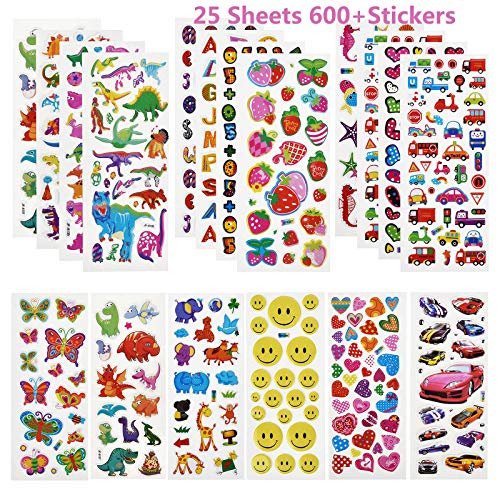Linkbro 3D Aufkleber für Kinder Mädchen, 25 Verschiedene Blätter 600+ Geschwollen Stickers mit Emoji, Dinosaurs, Cars, Kleinkinder Sticker Set Mitgebsel Kindergeburtstag Gastgeschenke