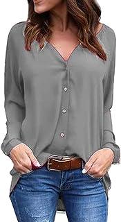 YMING Women's Blouse Button Down Casual Chiffon Shirt V Neck Long Sleeve Business Top