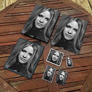 Avril Lavigne - Original Art Gift Set #js001 (Includes - A4 Canvas - A4 Print - Coaster - Fridge Magnet - Keyring - Mouse Mat - Sketch Card)