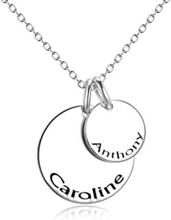 Custom Engraved Two Name Necklace Personalized Double Disc Initial Alphabet Sterling Silver Copper Pendant for Women Mom Girls