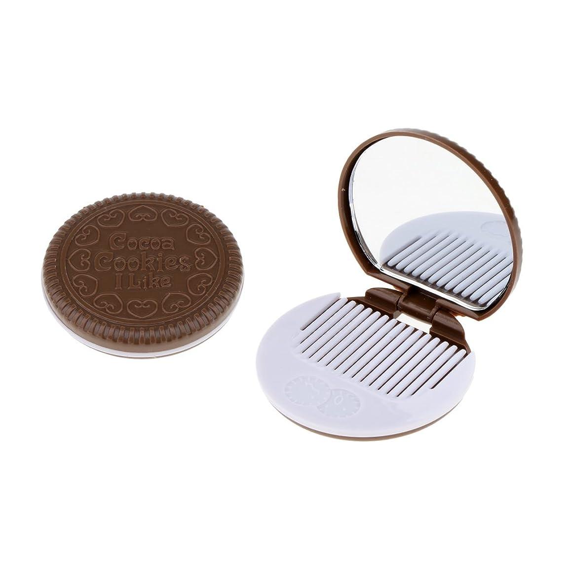 竜巻溶接アスペクトBaosity 2個入 メイクアップミラー 化粧ミラー 化粧鏡 コーム ポケットサイズ 可愛い ラウンド 折りたたみ  全4色   - 褐色