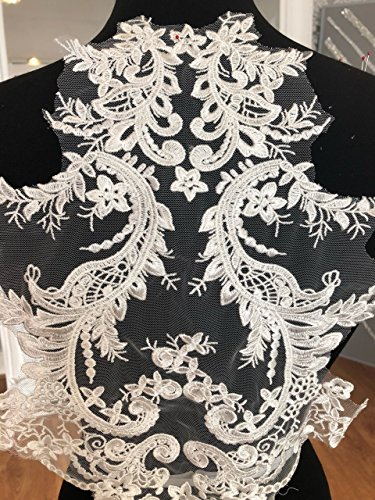 3D Flower Beaded Sequinned lace Applique Motif Sewing Bridal Wedding (2088)