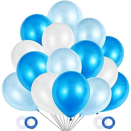 JOJOR Palloncini Azzurri e Bianchi, 100 Pezzi Palloncini Blu Perlati per Decorazioni Festa Nascita Bambino, Battesimo Maschio,Prima Comunione, Baby Shower, Matrimonio Blu,Compleanno