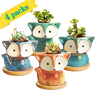 Succulent Pots Small Succulent Planters Ceramic Flower Pot Garden Planters Cute Cactus Plant Pot with Drain Hole & Bamboo Saucers Trays for Office Home Decoration Set of 4