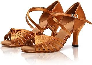 Latin Shoes for Women Adult Brown Satin Ballroom Salsa Dance Shoes 3 inch Heel