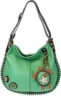 Chala Handbags, Casual Style, Soft, Large Shoulder or Crossbody Purse with Keyfob - Aqua Color