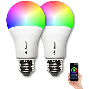 VeriSmart Wi-Fi LED Smart Light Bulbs - (2 Pack) The Brightest Multi-Color, ALEXA Certified works with GOOGLE HOME, No HUB Required, Free APP, Easy Set-up
