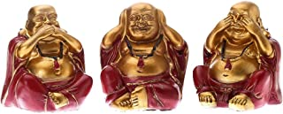 Prime Feng Shui Hear No Evil See No Evil Speak No Evil 3 Laughing Buddha Figurine Home Decor Statue for Gift