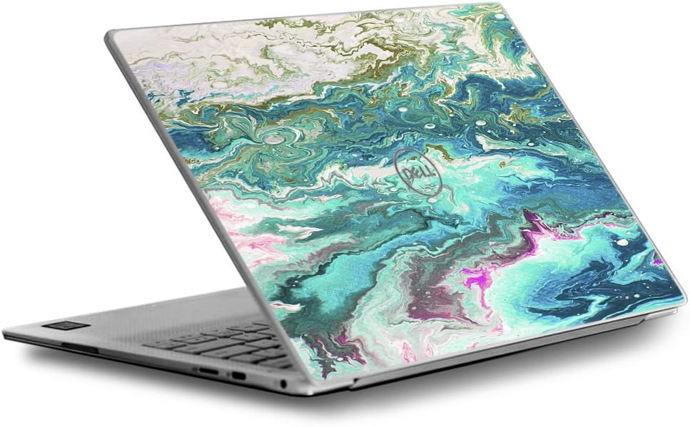 Skin Decal for Dell XPS 13 9370 9360 9350 Laptop Vinyl Wrap Cover/Marble Pattern Blue Ocean green