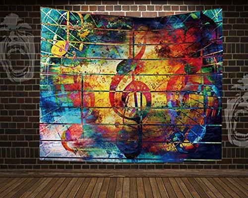 QCWN Psychedelic Tapestry Music Wall Hanging Sketched Floral Medallion Indian Headboard Wall Hanging Home Decor Geometric Pattern Colorful Mandala Bohemian Wall Tapestry (1, 78Wx59L)