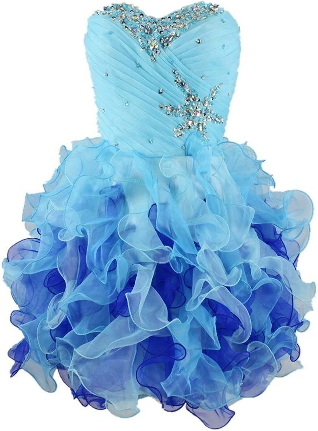 Charmingbridal Short Mini Ball Gown Beaded bluee Organza Formal Party Dress