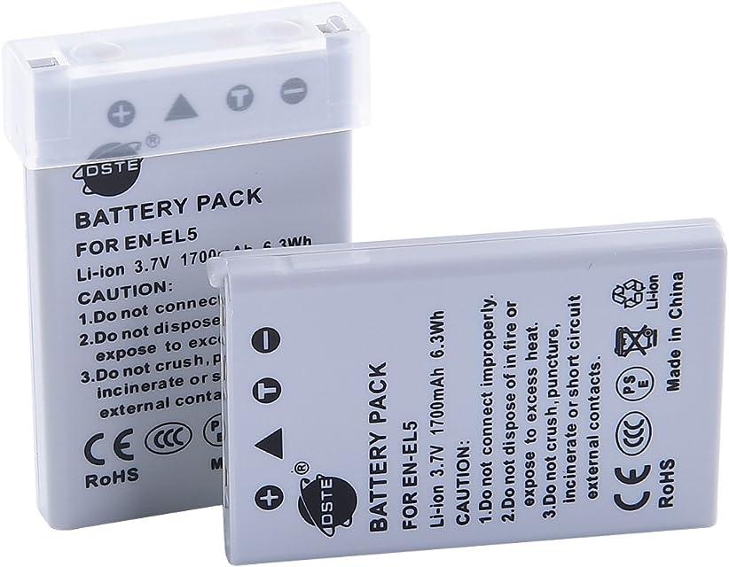 DSTE® 2x EN-EL5 Li-ion Batería para Nikon Coolpix 3700 4200 5200 5900 7900 P3 P4 P80 P90 P100 P500 P510 P520 P530 P5000 P5100 P6000 S10