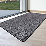Indoor Doormat Super Absorbs Mud Mat 47'x 28' Latex Backing Non Slip Door Mat for Front Door Inside Floor Dirt Trapper Mats Cotton Entrance Rug Shoes Scraper Machine Washable Rug Carpet Grey