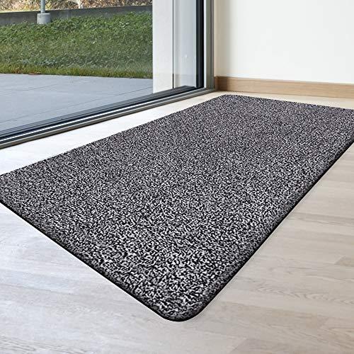 Indoor Doormat Super Absorbs Mud Mat 47'x 28' Latex Backing Non Slip Door Mat for Front Door Inside Floor Dirt Trapper Mats Cotton Entrance Rug Shoes Scraper Machine Washable Rug Carpet Grey