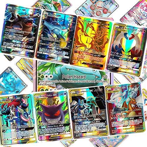 LSST Carte Pokémon, 100 Cartes TAG GX TCG Flash Trading Puzzle Jeu de Cartes Amusant - 44 Tag Team+56 GX