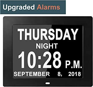 [8 Alarms Upgraded] Day Clocks Digital Date Calendar for Memory Loss Elderly Seniors Dementia Sufferers Alzheimers Products Wall Vision Impaired Patients Kids Room (8'' Black)