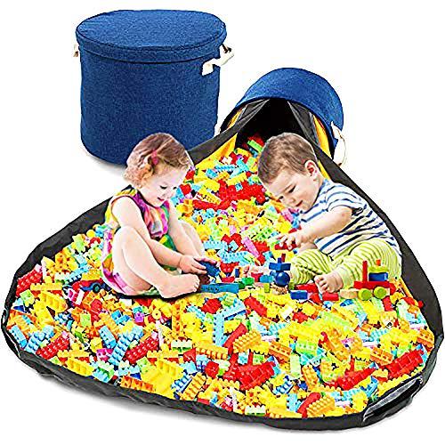 Organizador de juguetes y tapete de almacenamiento por Myriad365 | Nuevo tapete de almacenamiento de juguetes para niños con papelera...