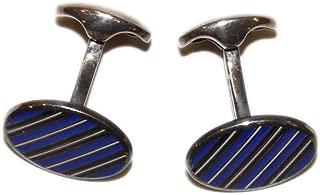 Polo Ralph Lauren Purple Label Sterling Silver Stripped Cuff Links Blue Black