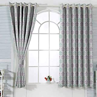 Grommet Blackout Curtains Fleur De Lis Abstract Old Fashioned Lily Flowers with Grunge Look Pastel Colors Cartoon Printed Nursery Room Dorm Mint Green Lilac White W55 xL45