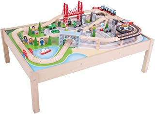 Bigjigs Rail Wooden City Train Set and Table - 59 Play Pieces - Other Major Rail Brands are Compatible