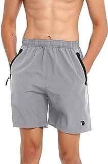 BGOWATU Men 7 Running Shorts, Quick Dry Reflective Workout Gym Shorts Zip Pocket