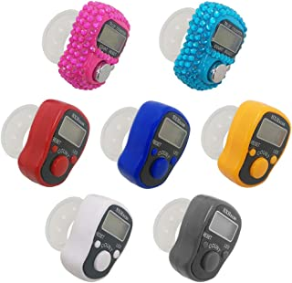 AFUNTA 7 Pcs Finger Counters - 5 Digital LED Electronic Finger Counter, Mechanical Manual Clicker Number Lap Tracker Count...