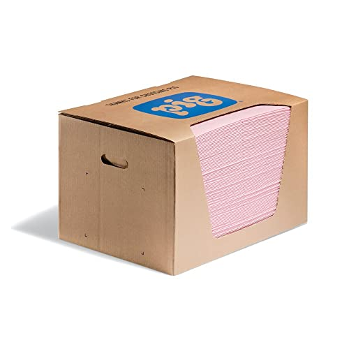 "New Pig HazMat Mat Pad in Dispenser Box, 28 oz Absorbency Per Pad, Absorbs Hazardous Chemicals - Acids, Bases & Unknowns, 100 (20"" x 15"") Pads Per Box, Pink, MAT354"