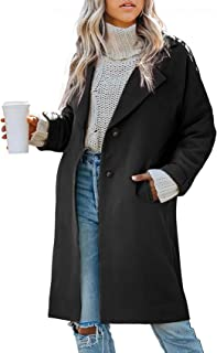Womens Wool Trench Coat Peacoat Single Breasted Elegant Plush Winter Overcoat