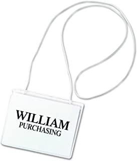 C-Line Hanging Style Name Badge Holders with Elastic Cord, 4 x 3 Inches, Clear, 50 per Box (96043)