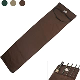 AventikINT Cotton Cloth Fishing Rod Sleeve Cover Pole Sock Glove Protector Bag Pouch with 5 Compartments