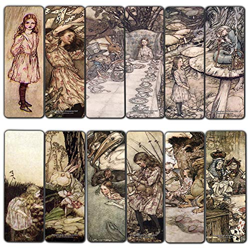 Alice in Wonderland Fairy Tales Arthur Rackham Bookmarks Cards (30-Pack) - Stocking Stuffers for Women Her, Girls, Kids - Birthday Mad Hatter Tea Party Supplies