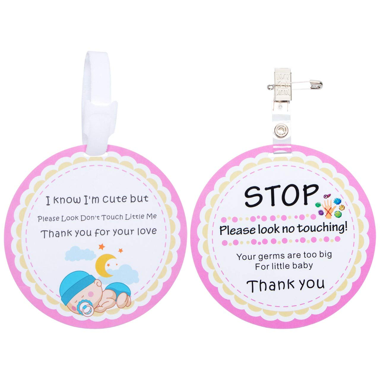 Stop No Touching Baby Car Seat Sign or Stroller Tag 2 Pack